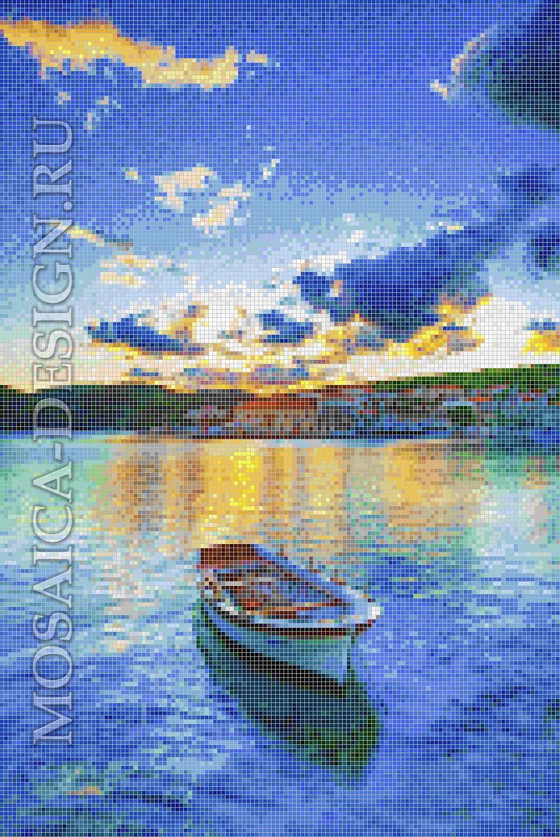 Мозаичное панно из мозаики для ванной комнаты SHIP001