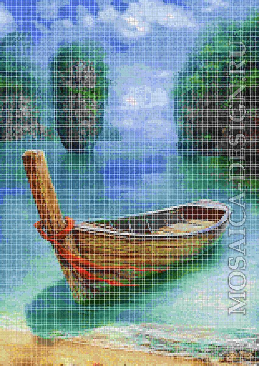Мозаичное панно из мозаики для ванной комнаты SHIP011
