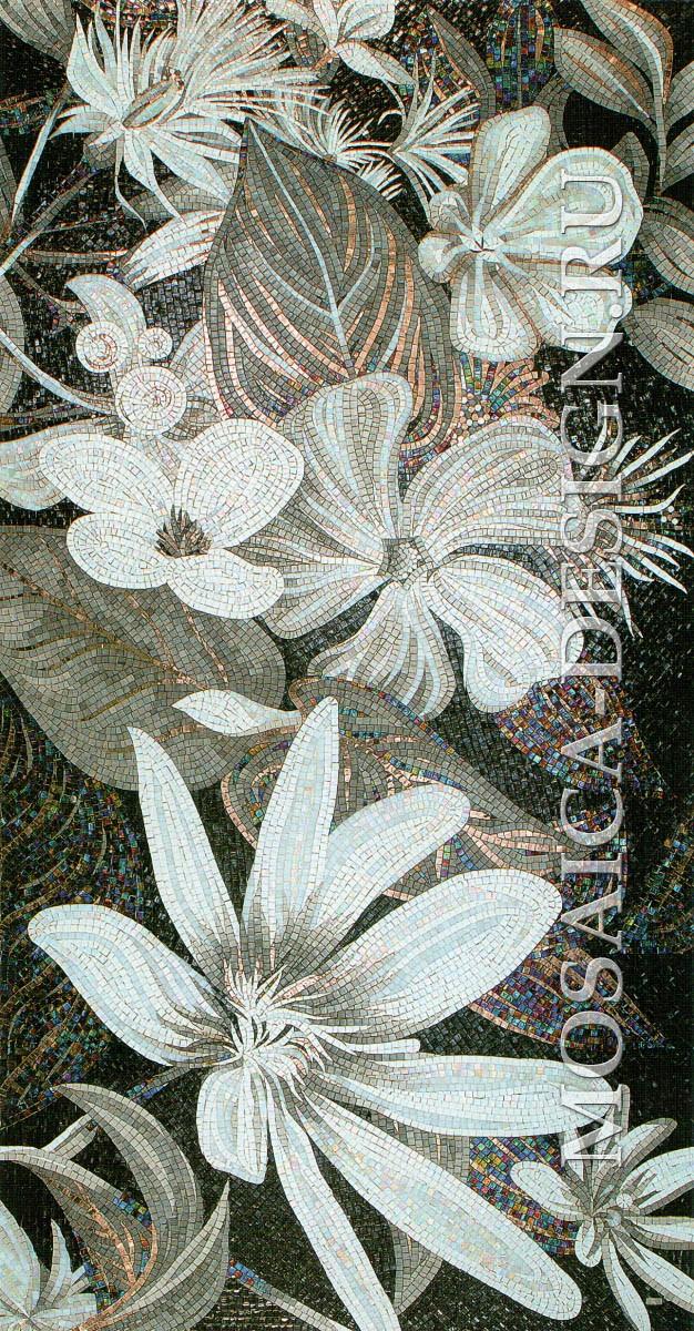 Sicis панно цветы из мозаики Flower power Flo 4bw ACVT0014