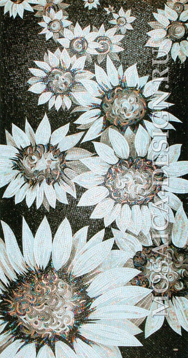 Sicis панно цветы из мозаики Flower power Flo 5bw ACVT015