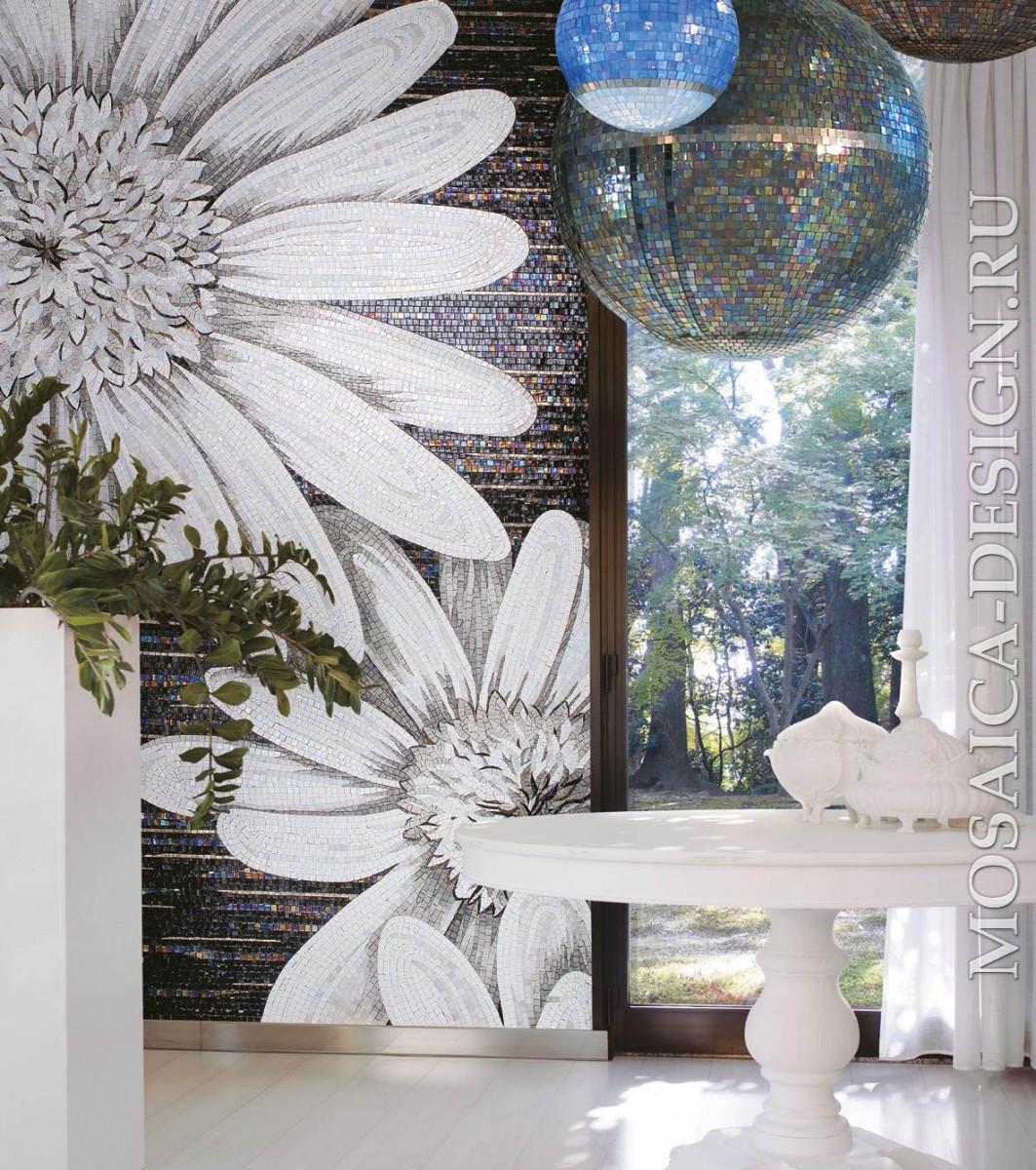 Sicis панно цветы из мозаики Flower power Flo 10bw ACVT020