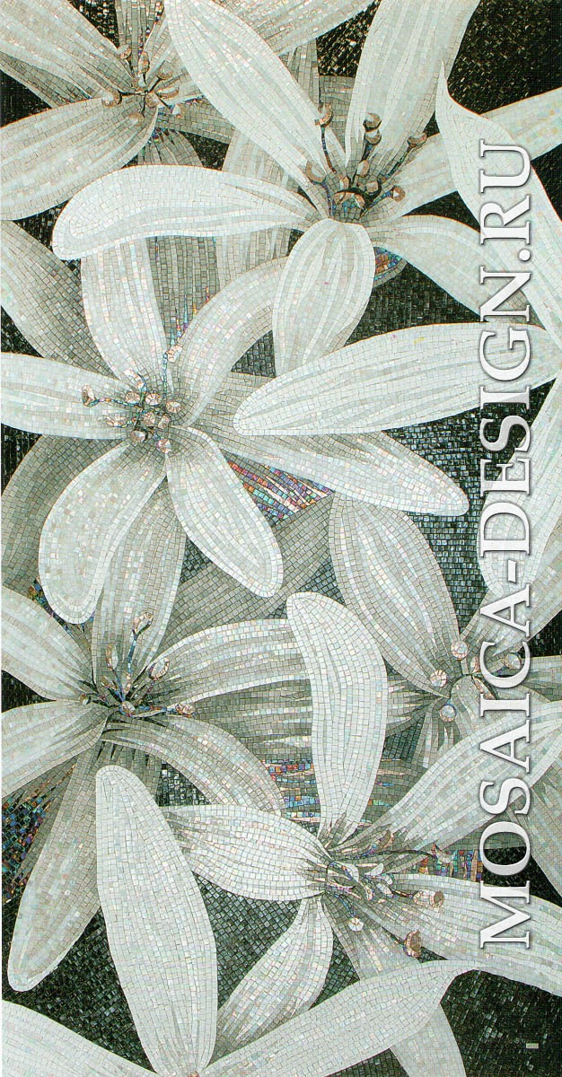 Sicis панно цветы из мозаики Flower power Flo 11bw ACVT021
