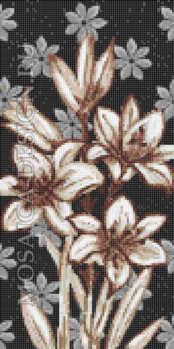 Панно из мозаики для ванной Цветы MCVT078