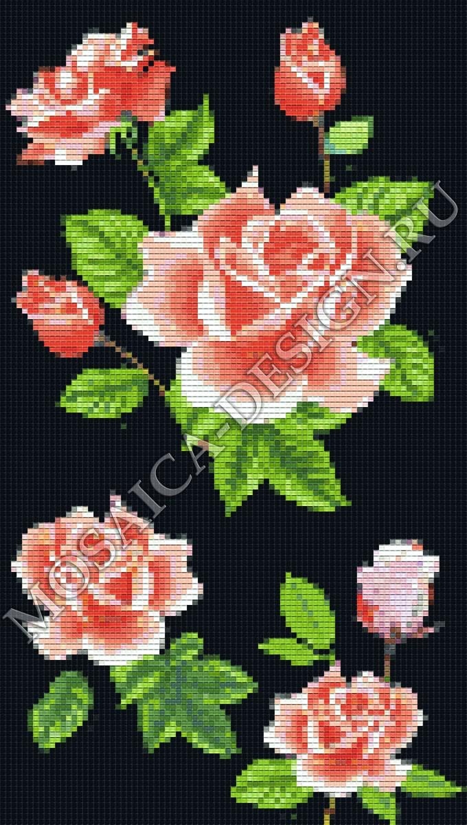 Панно из мозаики для ванной Цветы MCVT080