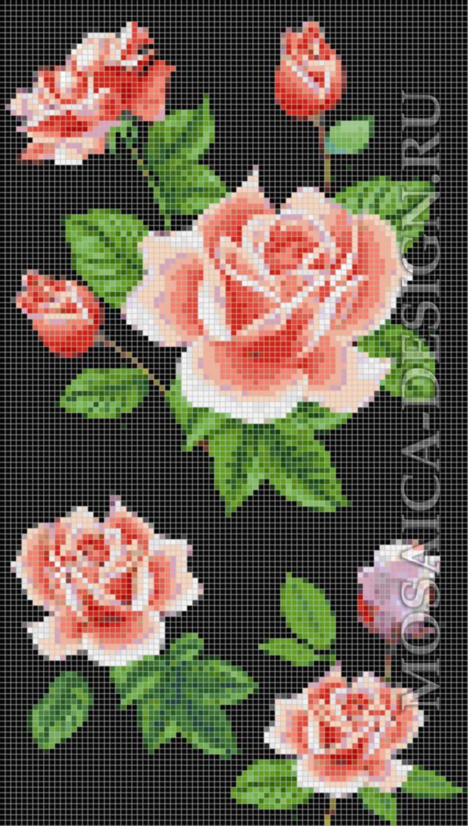 Панно из мозаики для ванной Цветы MCVT081