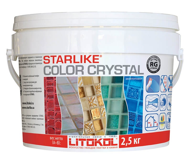 Цветная полупрозрачная эпоксидная затирка для мозаики Starlike color crystal 2,5 кг